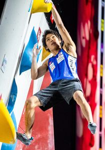 Tomoa Narasaki of Japan during the final of Men Combined competition, Boulder of the IFSC Climbing World Championships 2018. Innsbruck, Austria, 2018/09/16