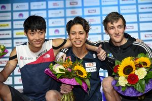 silver medalist Jongwon Chon of Republic of Korea,gold medalist and World Champion Kai Harada of Japan, bronze medalist Gregor Vezonik of Slovenia during the final of Men Boulder competition of the IFSC Climbing World Championships 2018. Innsbruck, Austria, 2018/09/15