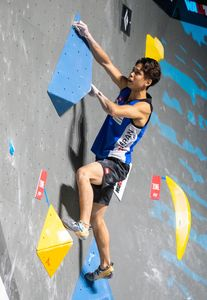 gold medalist and World Champion Kai Harada of Japan during the final of Men Boulder competition of the IFSC Climbing World Championships 2018. Innsbruck, Austria, 2018/09/15