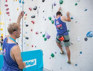 John Churcher of United Kingdom during the Para Climbing qualification for the IFSC Climbing World Championships 2018. Innsbruck, Austria, 12 September 2018