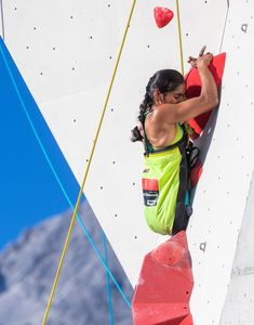 Pavitra Vandenhoven of Belgium during the Para Climbing qualification for the IFSC Climbing World Championships 2018. Innsbruck, Austria, 08 September 2018