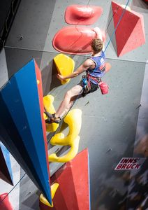 Matthew Phillips of United Kingdom during the final of Men AU2 Paraclimbing competition of the IFSC Climbing World Championships 2018. Innsbruck, Austria, 2018/09/14