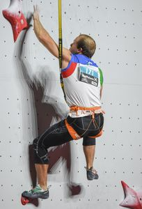 Leonardo Gontero of Italy during the Mens Speed Climbing qualification for the IFSC Climbing World Championships 2018. Innsbruck, Austria, 13 September 2018
