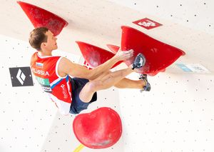 Aleksei Rubtsov of Russian Federation during the Men Boulder qualification for the IFSC Climbing World Championships 2018. Innsbruck, Austria, 12 September 2018