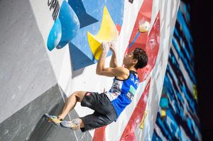 Kai Harada of Japan during the final of Men Boulder competition of the IFSC Climbing World Championships 2018. Innsbruck, Austria, 2018/09/15