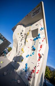 Overview Wall during the Para Climbing qualification for the IFSC Climbing World Championships 2018. Innsbruck, Austria, 08 September 2018