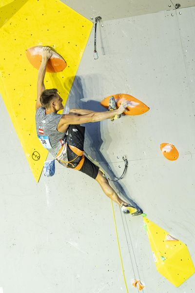 IFSC Lead Wordlcup Briancon 2020 Semi-Finals\rAthlete: Mathias Posch
