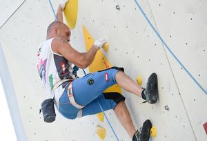 Bostjan Halas of Austria during the Para Climbing qualification for the IFSC Climbing World Championships 2018. Innsbruck, Austria, 08 September 2018