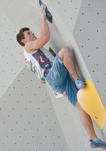 Florian Klingler of Austria during the Men Boulder qualification for the IFSC Climbing World Championships 2018. Innsbruck, Austria, 12 September 2018