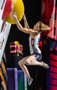 Jessica Pilz of Austria during the final of Women Combined competition, Boulder of the IFSC Climbing World Championships 2018. Innsbruck, Austria, 2018/09/15