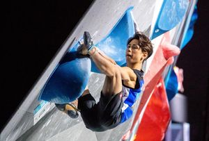 Kokoro Fujii of Japan during the final of Men Combined competition, Boulder of the IFSC Climbing World Championships 2018. Innsbruck, Austria, 2018/09/16