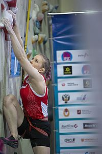IFSC Speed Worldcup Moscow 2018,\nRussia\nApril 20, 21, 22th 2018\nPic Shows: Julia Kaplina (RUS)