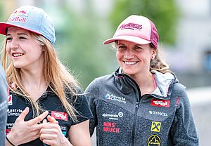 29.05.2018, Metropol, Innsbruck, AUT, IFCS Kletter WM, Pressekonferenz, im Bild Jessica Pilz, Anna Stöhr // during the Pressconference for the IFSC Climbing World Championships at the Metropol, Innsbruck, Austria on 2018/05/29. EXPA Pictures © 2018, PhotoCredit: EXPA/ JFK
