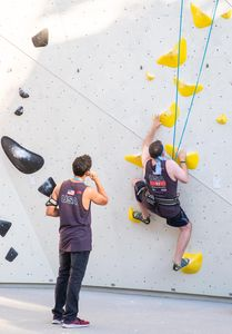 William Lowary of the USA during the Para Climbing qualification for the IFSC Climbing World Championships 2018. Innsbruck, Austria, 12 September 2018