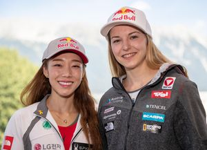 bronze medalist Jain Kim of Republic of Korea gold medalist and World Champion Jessica Pilz of Austria during a press conference after the Final of Women Lead for the IFSC Climbing World Championships 2018. Innsbruck, Austria, 09 September 2018
