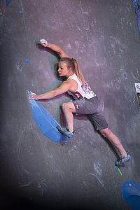 IFSC Boulder Worldcup Meiringen 2018, Semifinals\nSuisse\nApril 14th 2018\nPic Shows: Berit schwaiger in 1st Women Semi-Final Boulder