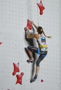 Jessica Pilz of Austria during the Speed Ladies qualification for the IFSC Climbing World Championships 2018. Innsbruck, Austria, 13 September 2018