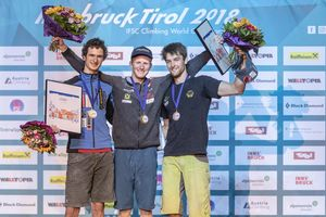 IFSC Climbing World Championships Innsbruck Tirol 2018 / Combined Men / 16.09.2018 / image shows: Podium 1 Jakob Schubert 2 Adam Ondra (CZE) 3 Jan Hojer (GER)