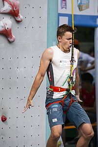 IFSC Climbing Worldcup Arco/ITA 2018\nSpeed Qualification\n\nPic shows: Knapp Lukas