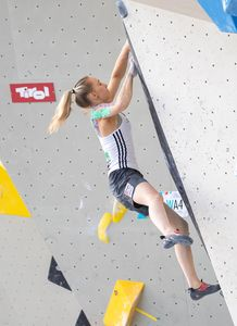 Janja Garnbret of Slovenia during the Women Boulder qualification for the IFSC Climbing World Championships 2018. Innsbruck, Austria, 08 September 2018
