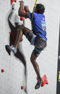 Bassa Mawem of France during the Mens Speed Climbing qualification for the IFSC Climbing World Championships 2018. Innsbruck, Austria, 13 September 2018