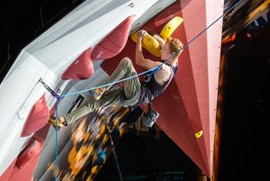 Trevor Smith of the USA during the final of Men AU2 Paraclimbing competition of the IFSC Climbing World Championships 2018. Innsbruck, Austria, 2018/09/14