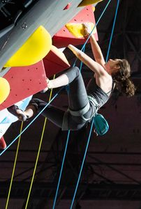 Maureen Beck of the USA during the Ladies AU2 Para Climbing for the IFSC Climbing World Championships 2018. Innsbruck, Austria, 13 September 2018
