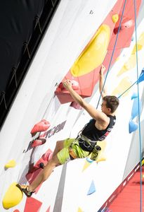 Florian Singer of Germany during the Mens RP1 Para Climbing for the IFSC Climbing World Championships 2018. Innsbruck, Austria, 13 September 2018