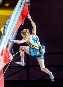 bronze medalist Jessica Pilz of Austria during the final of Women Combined competition, Boulder of the IFSC Climbing World Championships 2018. Innsbruck, Austria, 2018/09/15