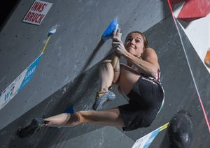 Jessica Pilz of Austria during the final of Women Boulder competition of the IFSC Climbing World Championships 2018. Innsbruck, Austria, 2018/09/14