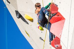 Jasmin Plank of Austria during the Para Climbing qualification for the IFSC Climbing World Championships 2018. Innsbruck, Austria, 08 September 2018