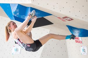 Franziska Sterrer of Austria during the Women Boulder qualification for the IFSC Climbing World Championships 2018. Innsbruck, Austria, 08 September 2018