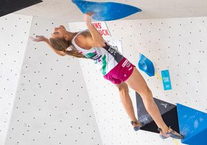 Katharina Saurwein of Austria during the Women Boulder qualification for the IFSC Climbing World Championships 2018. Innsbruck, Austria, 08 September 2018