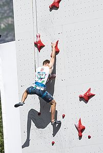 IFSC Climbing Worldcup Chamonix/FRA 2018\rLead and Speed\r\rPic shows: Lukas Knapp