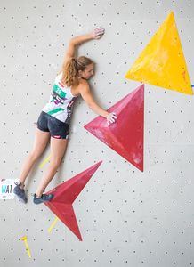 Julia Pinggera of Austria during the Women Boulder qualification for the IFSC Climbing World Championships 2018. Innsbruck, Austria, 08 September 2018
