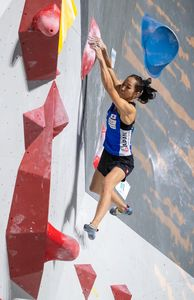 Akiyo Noguchi of Japan during the final of Women Boulder competition of the IFSC Climbing World Championships 2018. Innsbruck, Austria, 2018/09/14